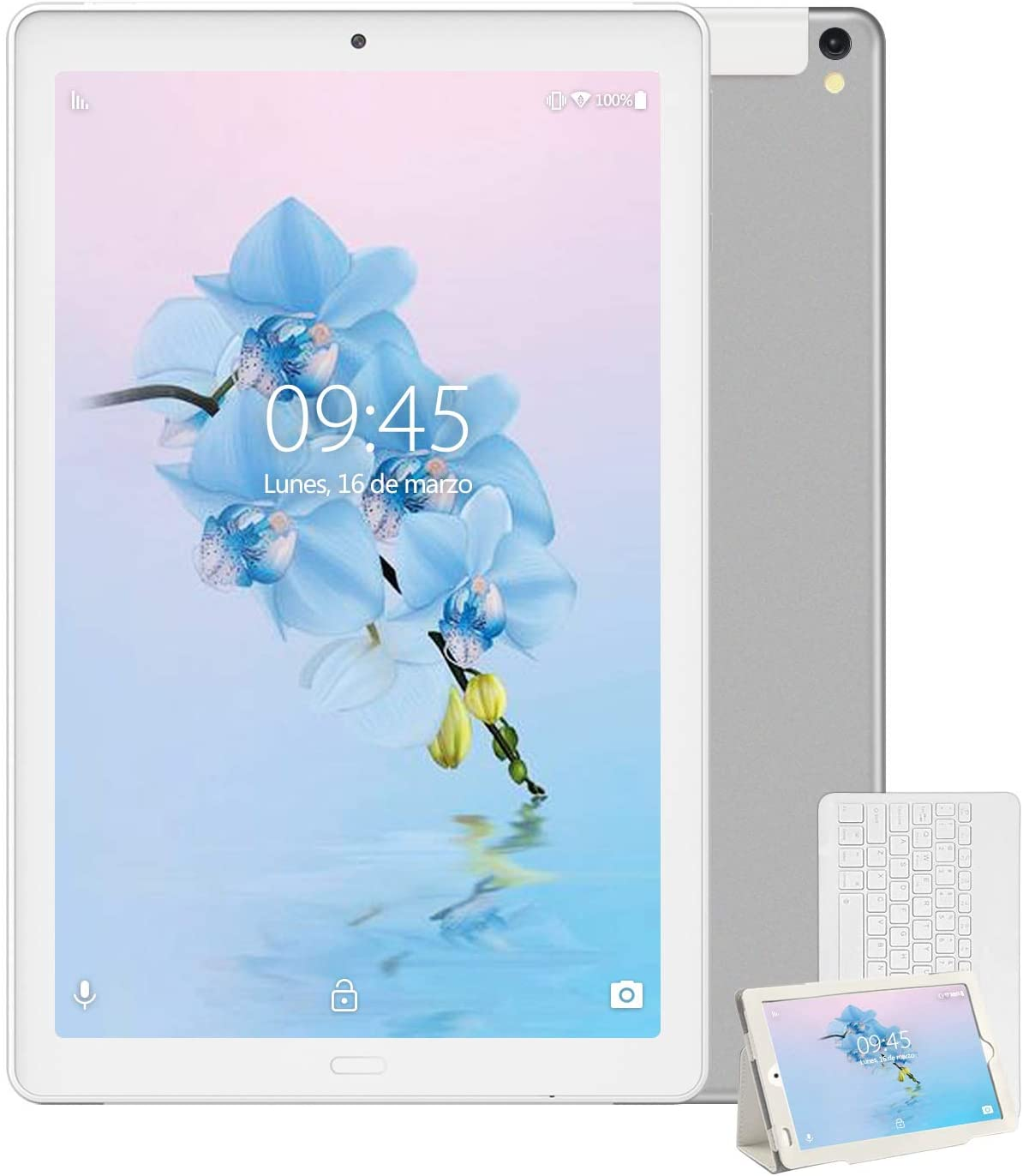 Tablet 10 Pulgadas YESTEL X2, 3GB+32GB, Android 8.1,4G WiFi/Dobles SIM, Tableta con Tastiera, 4 Core, 8000mAh, 1280X800 HD IPS, FM,Plata