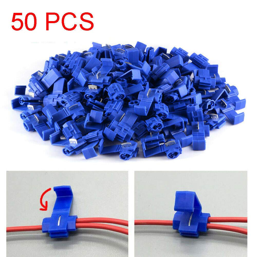 50pcs Blue Electrical Scotch Lock Wire Connectors Quick Splice Terminals Crimp for AWG 14-16