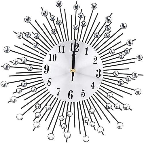 FTVOGUE Vintage Wall Clock Creative Iron Flower Wall-Mounted Diamond Hanging Clock Decoration