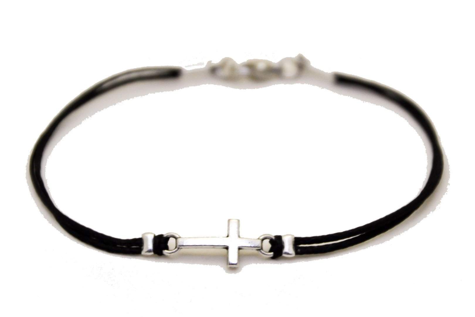 Cross bracelet for men, christian conformation gift, men's bracelet silver cross charm, black strand, for him, christian catholic jewelry