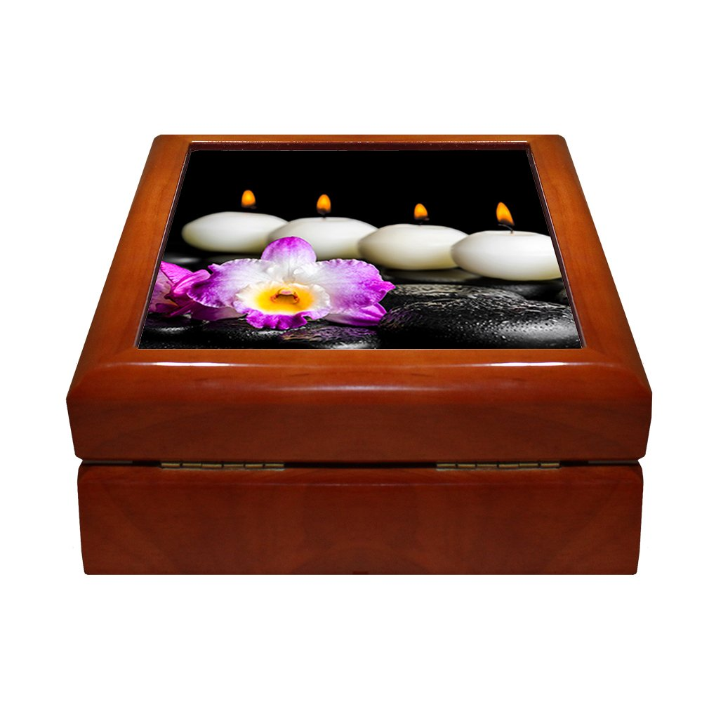 Spa Still Life Purple Orchid Dendrobium 4''x4'' Jewelry Box Ceramic Tile Oak Frame