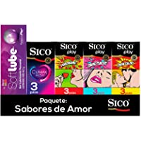 Sico Kit Sabores de Amor ; 12 Condones + Lubricante Soft Lube Pleasure Plus