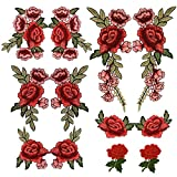 Arts & Crafts : 12PCS(6 Pairs) Embroidery Lace Flower Fabric Applique Sew on Patches Embroidered Patch DIY for clothings,jeans