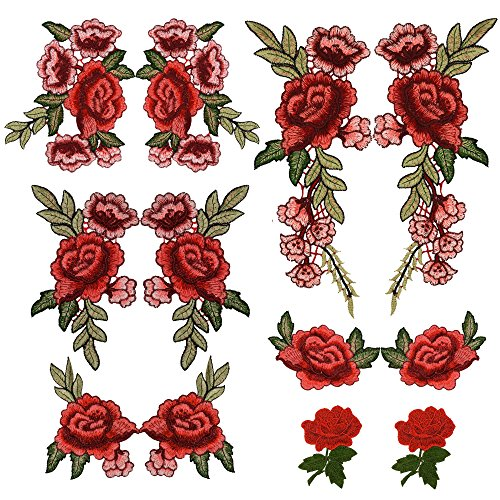 12PCS(6 Pairs) Embroidery Lace Flower Fabric Applique Sew on Patches Embroidered Patch DIY for clothings,jeans