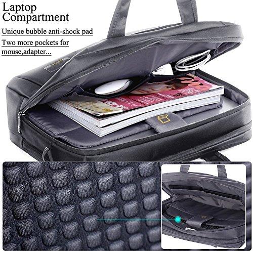 Profesional Bolsa de Ordenador Portátil 14-15 Pulgadas Nylon Espacioso Elegante Bolsa de Hombro Mensajero de Manija Maletín Tableta para 14-15 Pulgadas Portátil / Tableta / Macbook / Notebook(gris) gris