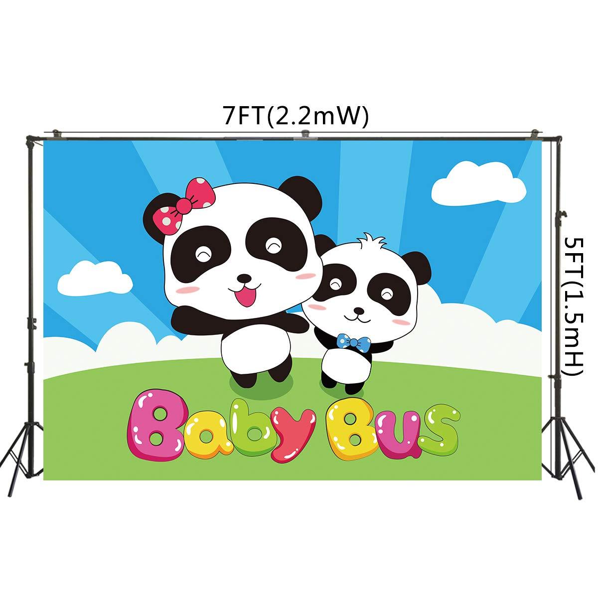 Amazon.com : AOSTO 7x5ft Cartoon Panda Baby Bus Backdrop for ...