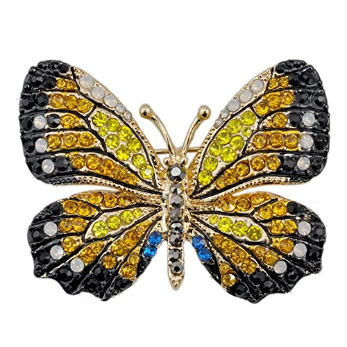 QTMY Colorful Rhinestone Butterfly Brooches Pin (2)