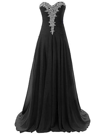 efb378e7e9b CoutureBridal® Robe Femme Bustier Robe Longue de Soirée Cérémonie Cocktail  en Chiffon Noir EU32
