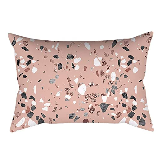 Aiserkly - Funda de cojín Rectangular, 30 x 50 cm, Color Rosa y Dorado, Rose Gold Pink-e, 30cm x 50cm