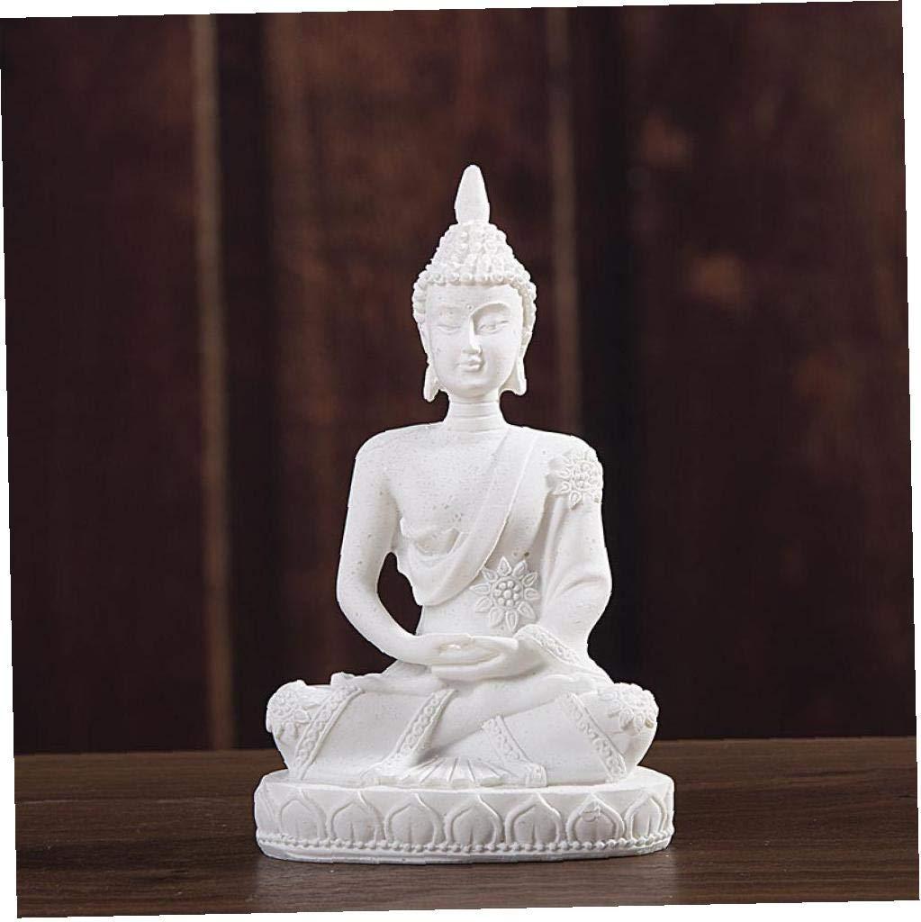 Angoter Escultura 11cm Naturaleza Arenisca India Estatua de Buda Fengshui Buda Sentado Figurines de /época Decoraci/ón Uso de Acuario Cobre