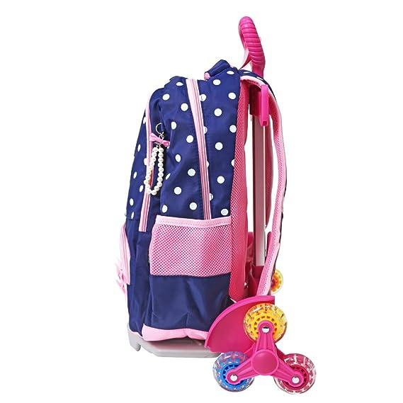 Amazon.com | Wheeled Backpack Cart, Aluminium Alloy Folding Trolley Cart for Backpack (Pink, 6 Wheels) | Kids Backpacks