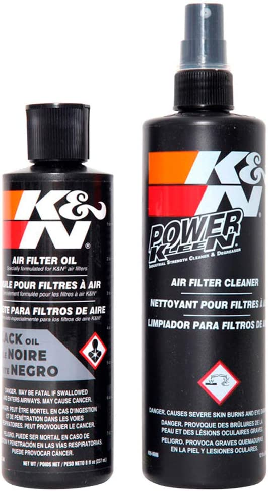 K&N Air Filter Cleaning Kit: Squeeze Bottle Filter Cleaner and Black Oil Kit; Restores Engine Air Filter Performance; Service Kit-99-5050BK