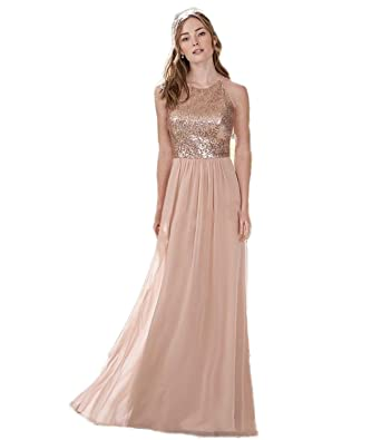 a18c930a0af Automan Rose Gold Sequins Bridesmaid Dresses Long Wedding Guest Maid of  Honor Gown at Amazon Women s Clothing store