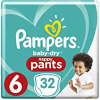 Pampers Baby-Dry Nappy Pants Size 6 Junior (15kg+), 32 Nappy Pants