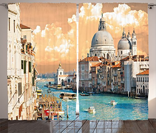 (Ambesonne European Curtains, Grand Canal in Venice Italy Historic European Cityscape Town Tower Boho Print, Living Room Bedroom Window Drapes 2 Panel Set, 108 W X 90 L Inches, Pastel Coral)