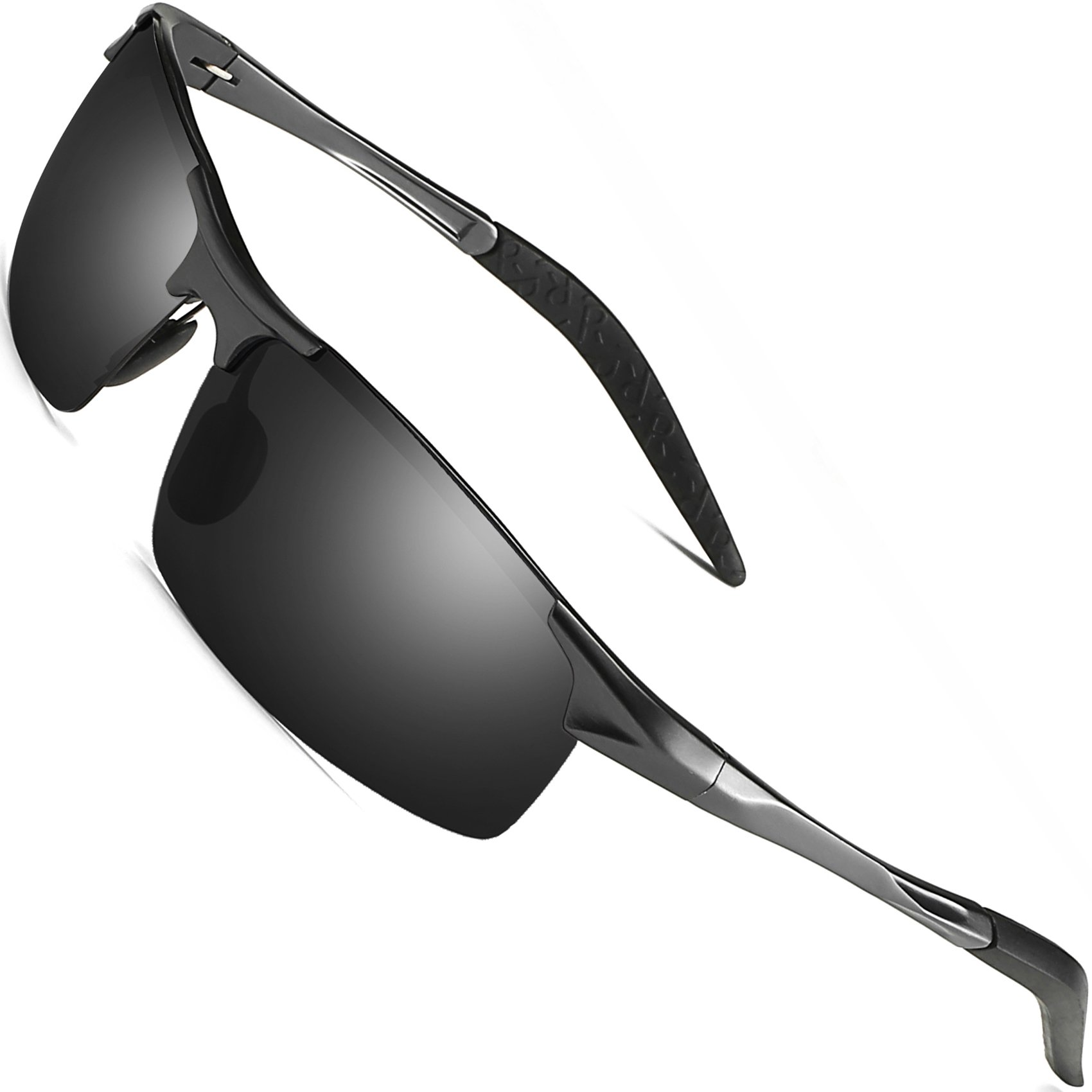 Sports Polarized Sunglasses for Men - FEIDU Driving Sunglasses UV400 Protection FD8005(black/gun)