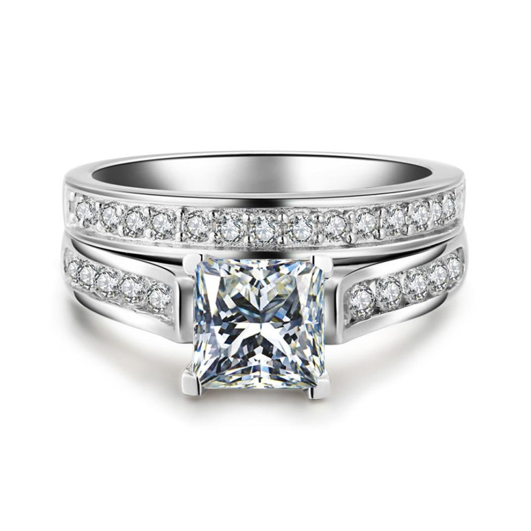 Sinwo 2-in-1 Women Zirconia Ring Creative Set Ring Exquisite Engagement Ring Wedding Band Bride Ring (5, Silver)