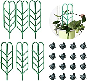 SKYCOOOOL Garden Plant Support, DIY Garden Trellis for Mini Climbing Plants, 6 Leaf Shape Plant Supports, 16 Pcs Plant Orchid Clips for Ivy Roses Cucumbers Clematis Pots Supports