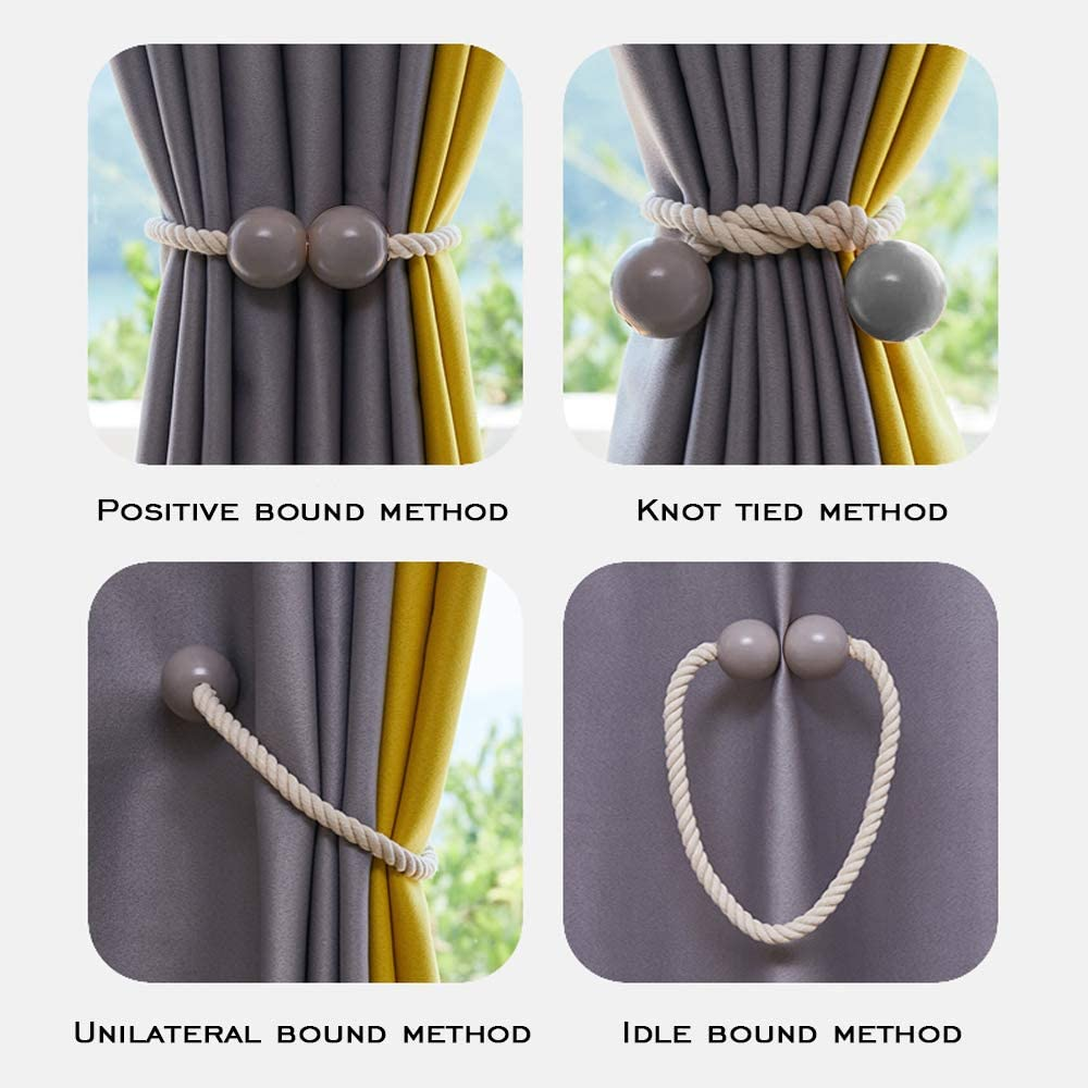 Decorative Rope Holdback Holder for Home Office Decoration Deep Brown 2019 New Convenient Drape Tieback 2 Pack Magnetic Curtain Tiebacks
