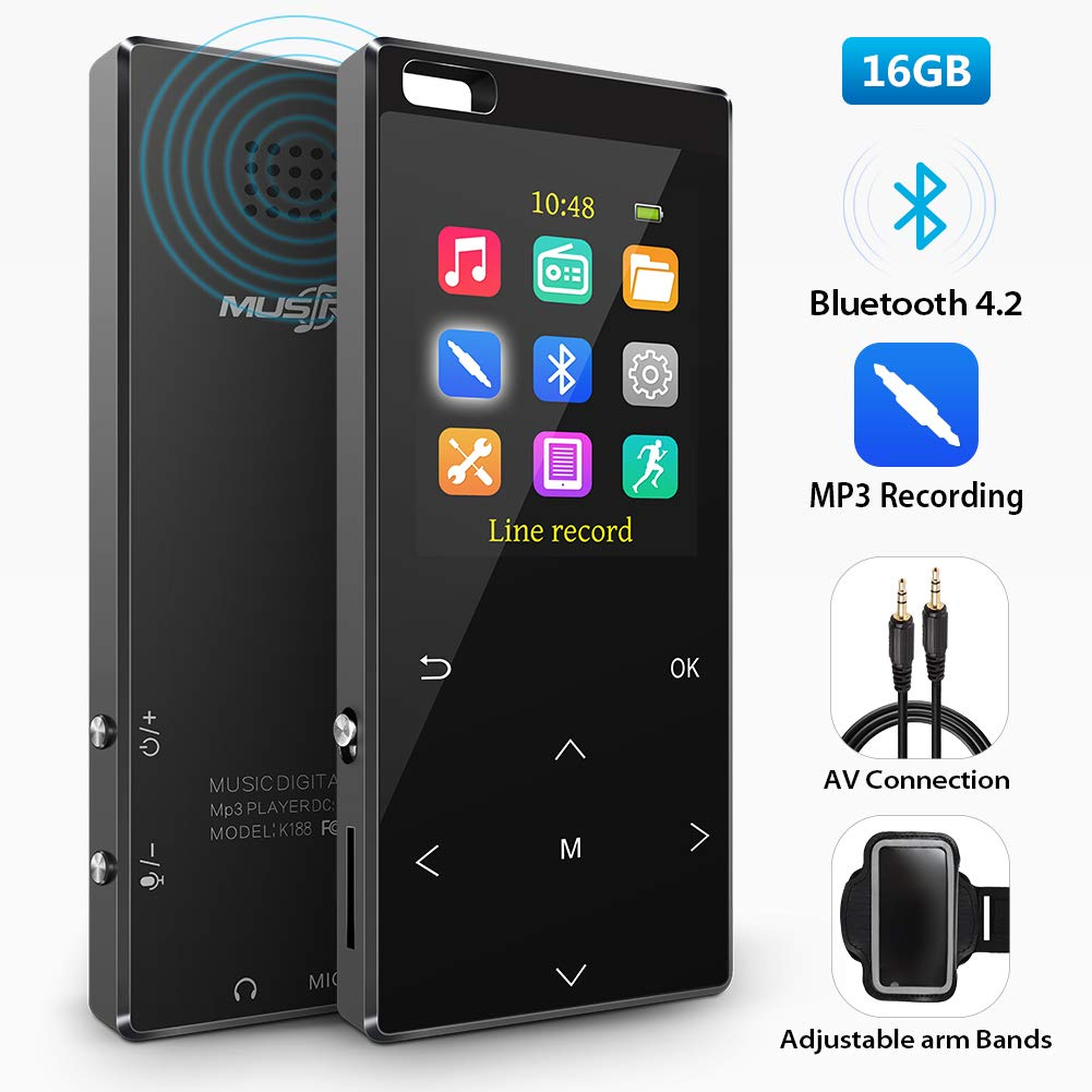 16GB MP3 Player with bluetooth4.2, MP3 Direct Recording, Portable Lossless Digital Audio Player with FM Radio/Voice Recorder, Pedometer with an Armband, Touch Buttons, Support up to 128gb, Black
