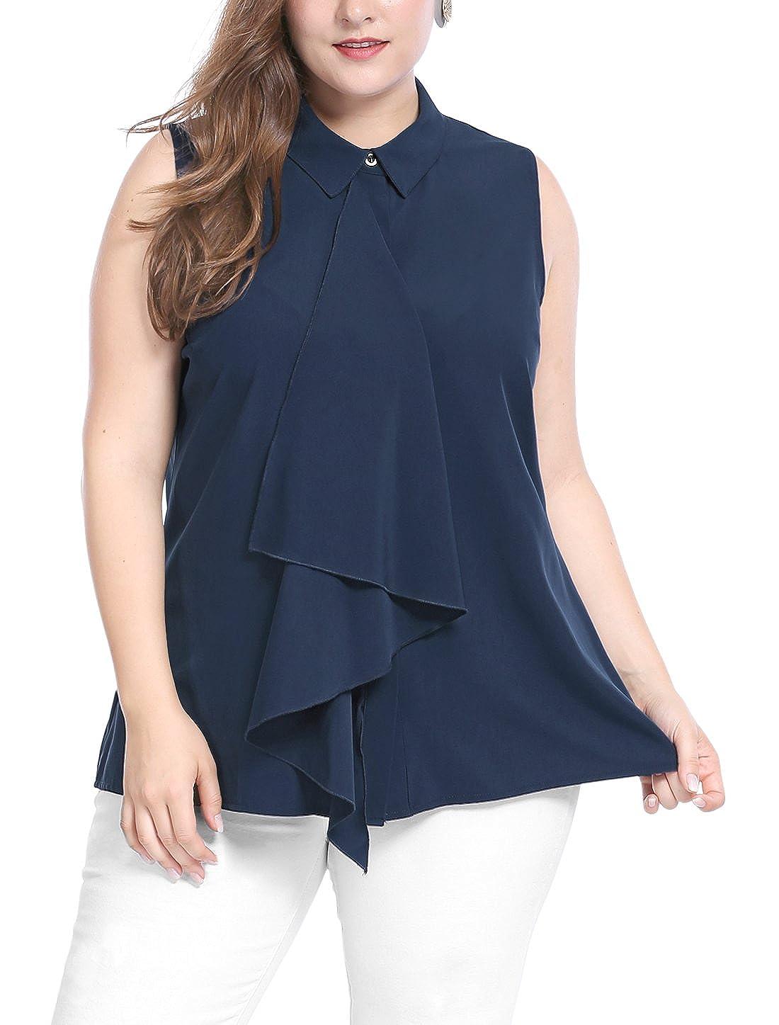 Allegra K Womens Plus Size Hidden Placket Ruffle Fashion Sleeveless Shirt