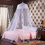 Superb Round Hoop Double Lace Princess Bed Canopy Mosquito Netting Fit Crib Twin  Full Queen White