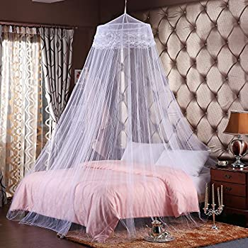 Round Hoop Double Lace Princess Bed Canopy Mosquito Netting Fit Crib Twin  Full Queen White