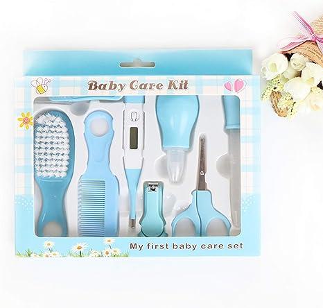8 unids/set Bebé Kit de Cuidado Conveniente Todos los dias Viajes Nail Clipper Tijeras Peine set de manicura para el cuidado del cabello forcipe termometro Alimentador Cuidado de Bebés azul: Amazon.es: Bebé