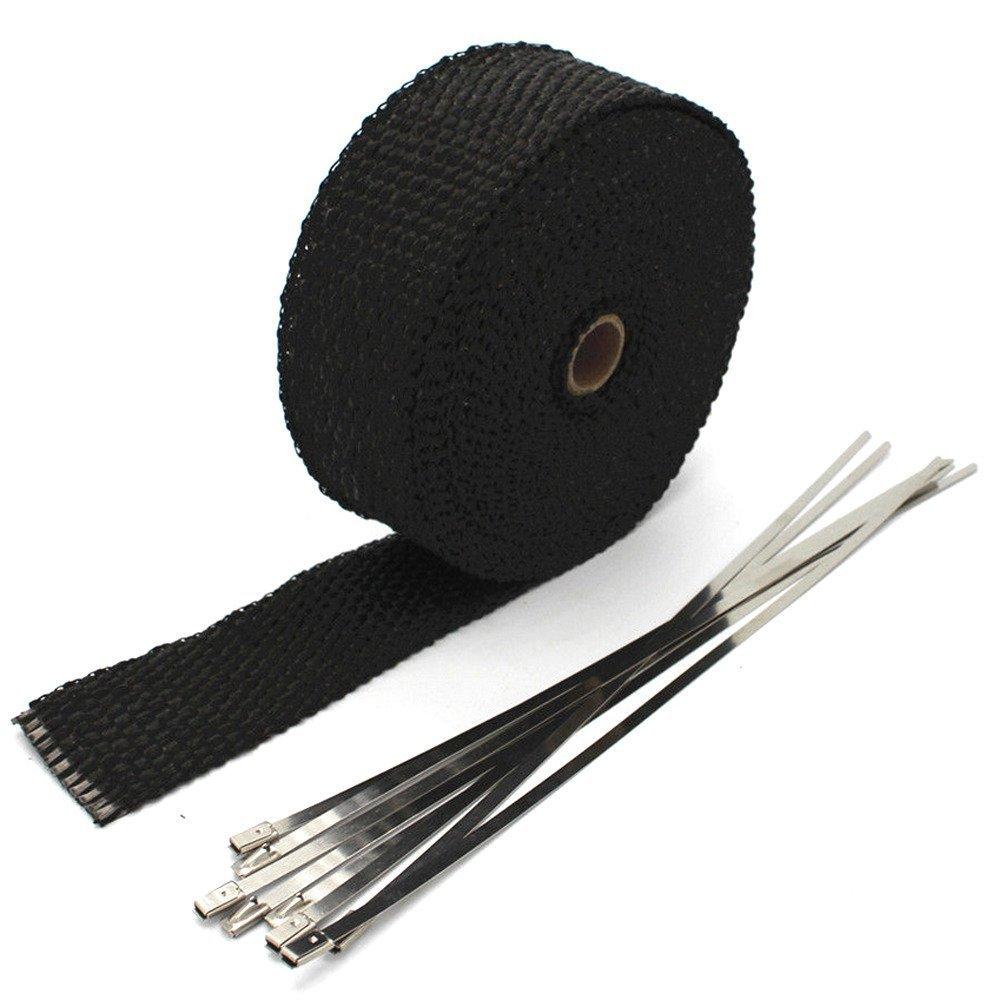 Mintice 5CM X 10M lana di vetro rotolo nero nastro adesivo intramuscolo di scarico di viaggio 6 legami auto