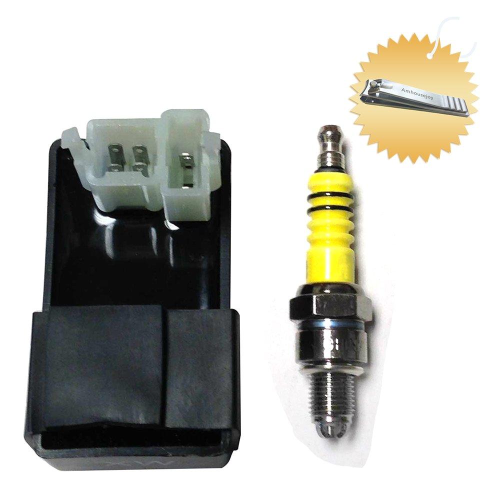 6 Pins/Prongs CDI Box + Spark Plug for Chinese 50cc 90cc 110cc 125cc 150cc 200cc 250cc ATV Dirt Bike Go Kart Scooter Moped by Amhousejoy
