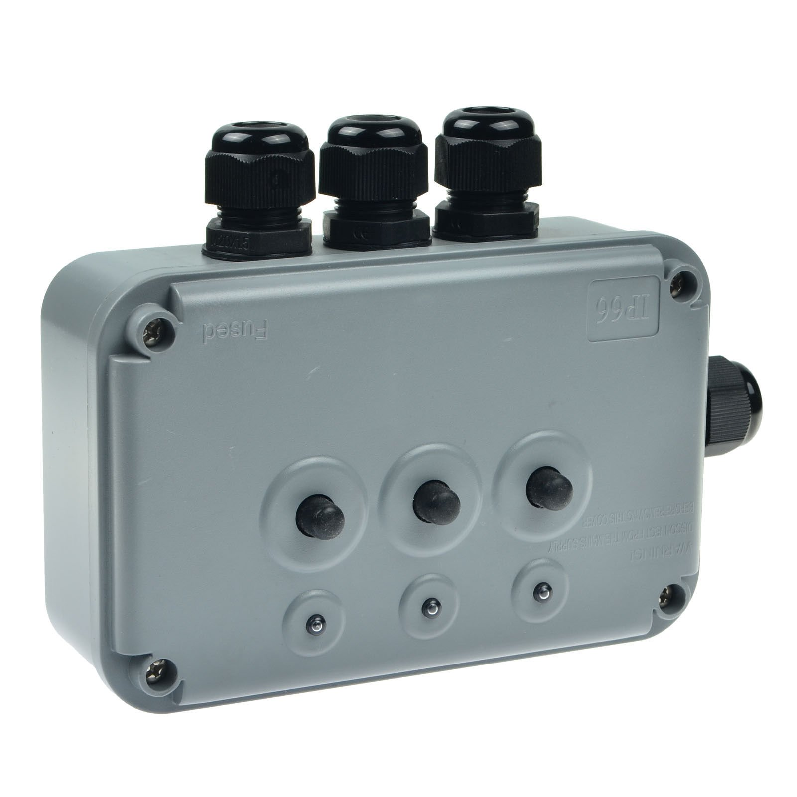 GREENCYCLE HO-044-1 IP66 Rated Weatherproof 3 Gang Power Control Switch with 4 Adjustable External Gland Cable for Outdoor Use
