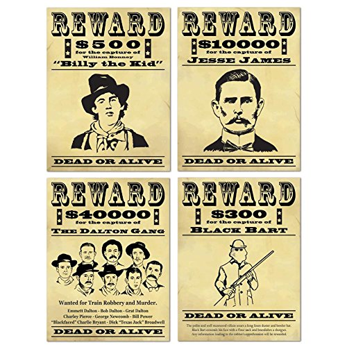Wanted Sign Cutouts   (4/Pkg) (Halloween Wanted Poster)