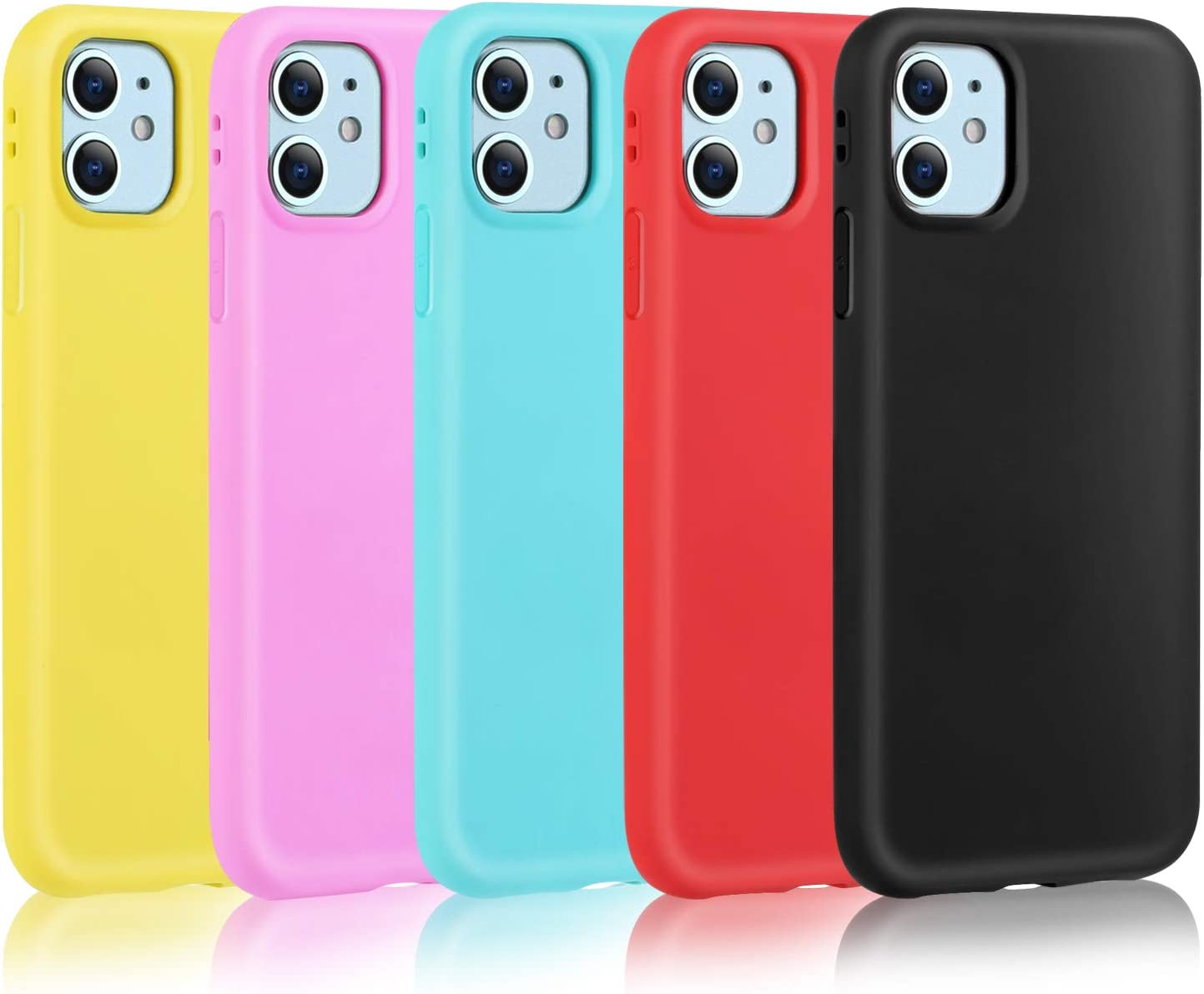 Pofesun Silicone iPhone 11 Case, 5 Pack Ultra Slim Fit Soft Silicone Protective Gel Case Shock-Absorption Anti-Scratch Cover Cases Compatible for iPhone 11 6.1 inch (2019)-Black,Rose,Yellow,Rose,Green