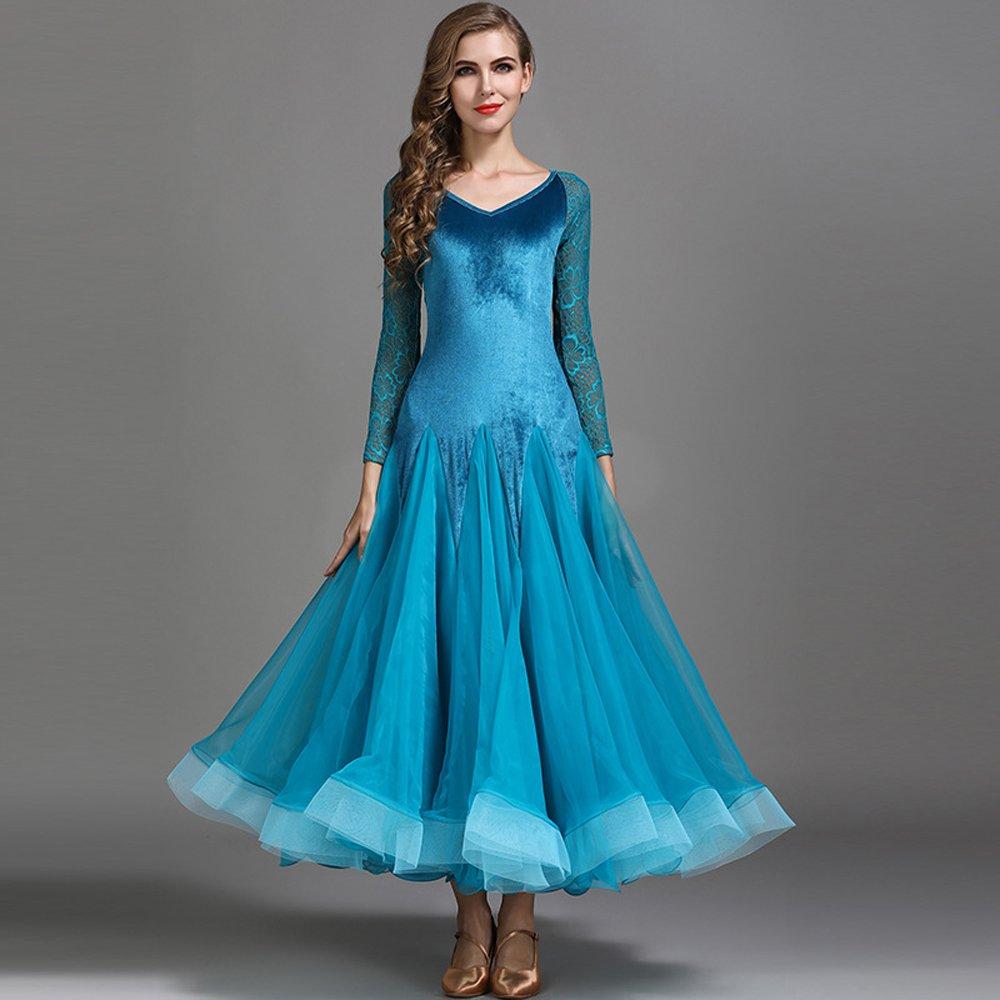 【正規品】 現代の女性大きな振り子ベルベットモダンダンスドレスタンゴとワルツダンスドレスダンスコンペティションスカート長袖レースダンスコスチューム Blue B07HHWVVQL Small|Blue Small|Blue B07HHWVVQL Blue Small, Luxury Brand ミドリヤ:2a3859a5 --- a0267596.xsph.ru