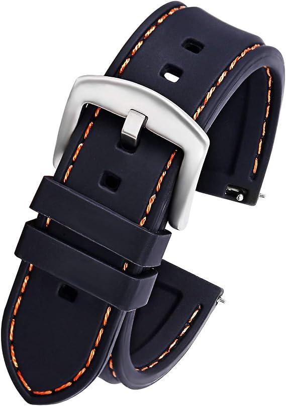 Pbcode 20mm Uhrenarmband Silikon Sport Schwarz Gummi Armband Für Smartwatch Bands Samsung Gear 2 Classic Ticwatch 2 Moto 360 Für Männer 2 Gen 42mm S Orange Nähte Silberne Schnalle Uhren