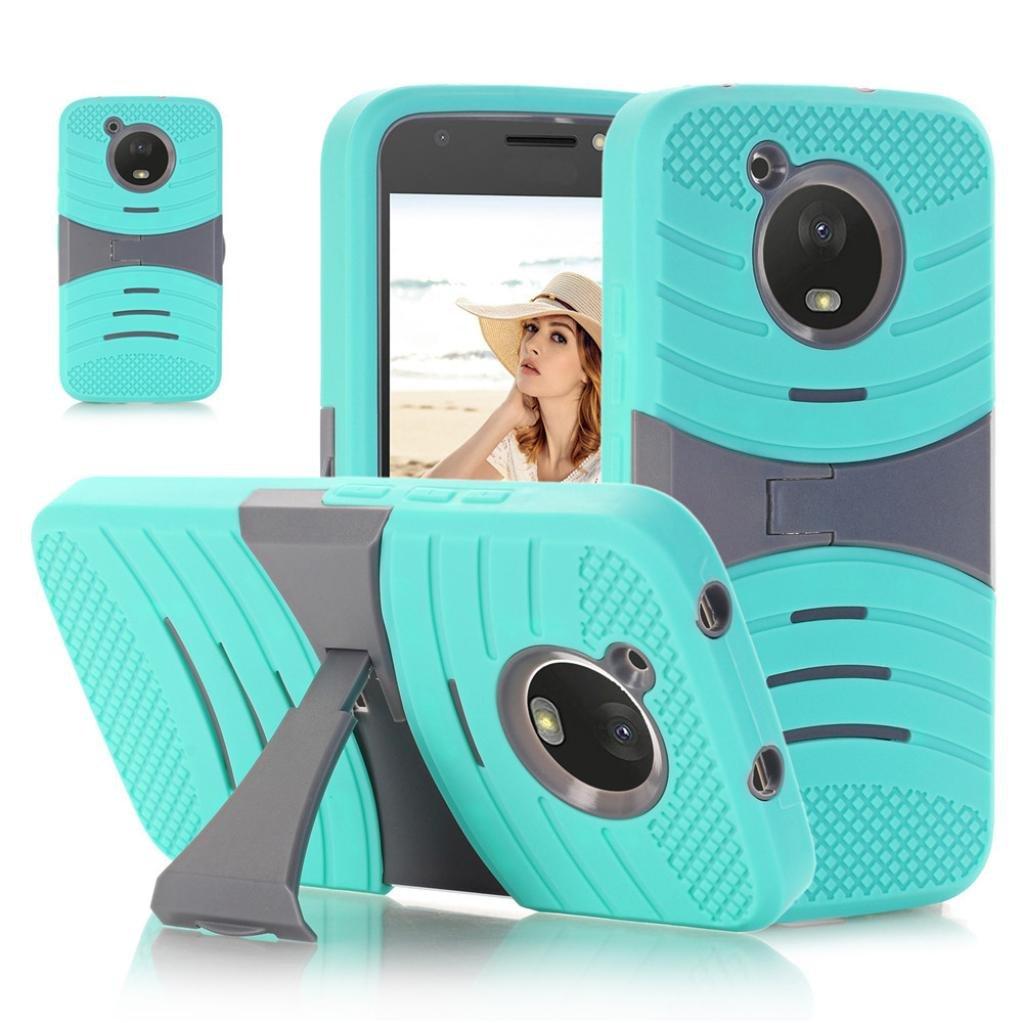 Aurorax Soft TPU Bling Glitter Shockproof Hybrid Cover Phone Case For MOTO E4 (Mint Green)