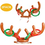 heytech Inflatable Reindeer, 2 Pack Inflatable Reindeer Antler Ring Toss Game for Christmas Party (2 Antlers&8 Rings& 1 Gift Bag)