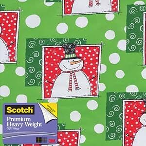 Scotch  Gift Wrap, Happy Snowman Pattern, 25-Square Feet, 30-Inch x 10-Feet (AM-WPHS-12)