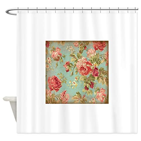 Beautiful CafePress   Beautiful Vintage Rose Floral   Decorative Fabric Shower Curtain