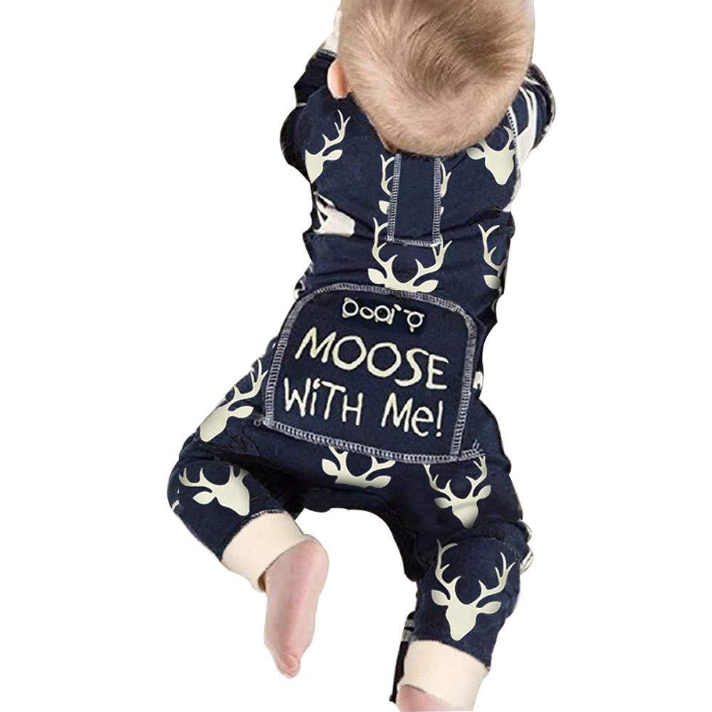 GoodLock Clearance!! Baby Boys Girls Jumpsuits Newborn Infant Christmas Deer Romper Jumpsuit Outfits Clothes (Blue, 0-6 Months)