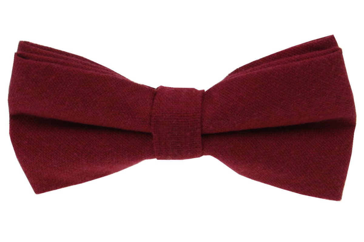 Mens Charm Solid Linen Pretied Bowtie - Various Colors (Burgundy)