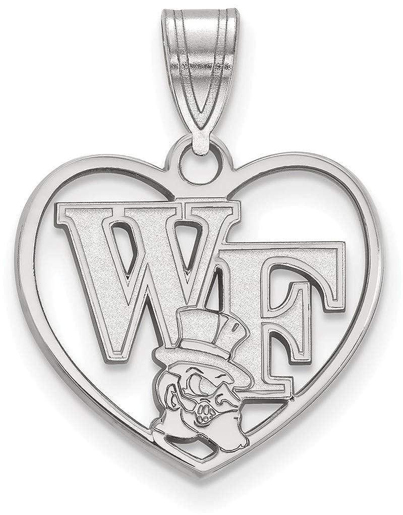 Sterling Silver Wake Forest University Pendant in Heart by LogoArt SS049WFU
