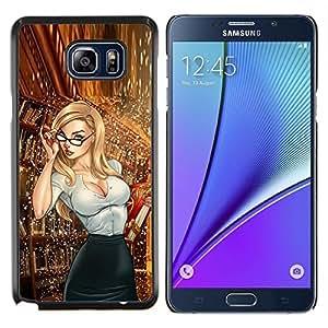 YiPhone /// Prima de resorte delgada de la cubierta del caso de Shell Armor - gafas secretario bibliotecario nena chica caliente - Samsung Galaxy Note 5 5th N9200