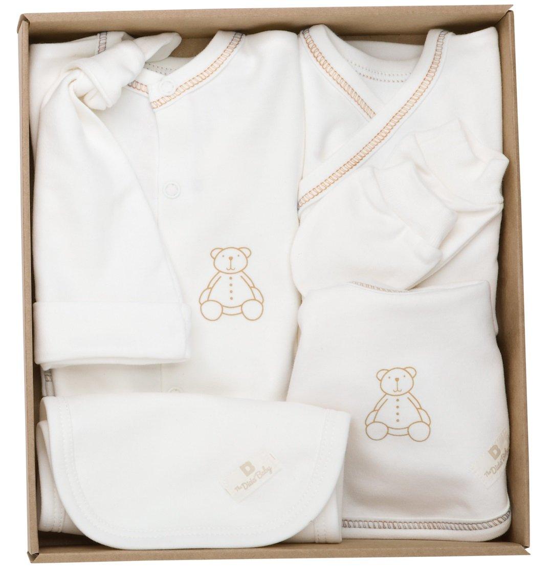 The Dida World Newborn - Conjunto recién nacido de algodón orgánico, 6 piezas, talla 0 meses, oso estampado azul S.C.P.