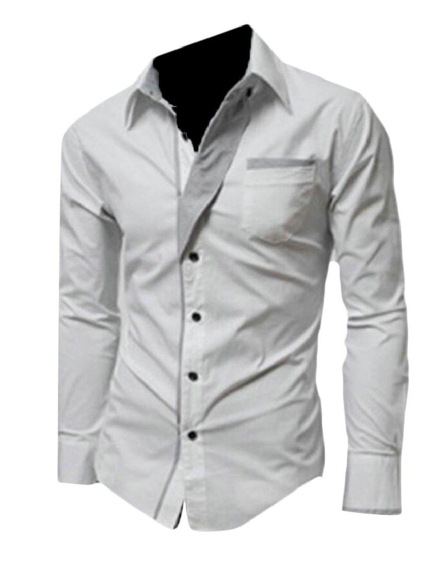 Gocgt Mens Dress Shirt Cotton Slim Fit Casual Button Down Shirts White XS