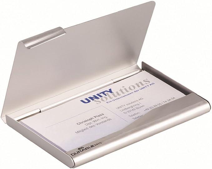 Durable 241523 Dispensador de tarjetas de visita Caja de tarjetas de visita 1 pieza de plata: Amazon.es: Oficina y papelería