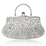 EROUGE Beaded Sequin Design Flower Evening Purse Large Clutch Bag (Silver)