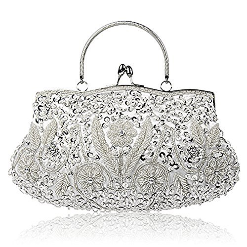 EROUGE Beaded Sequin Design Flower Evening Purse Large Clutch Bag (Silver) -