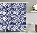 Moroccan Shower Curtain by Ambesonne, Old Ottoman Style Inspired Mix of Moroccan Tiles in Modern Shades Artwork Print, Fabric Bathroom Decor Set with Hooks, 70 Inches, Grey Blue