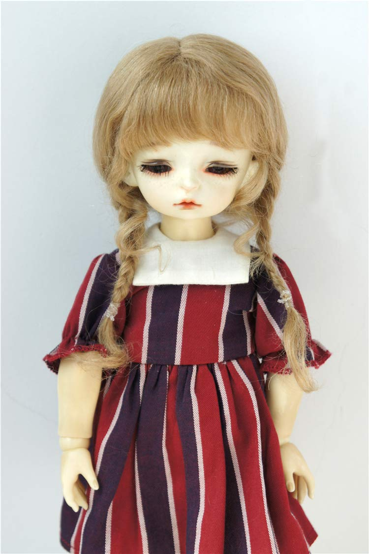 BJD Wigs D2033B Twins Braids Mohair BJD Doll Wigs varopis Sizes and Colors Available (Ash Blond, 6-7inch)